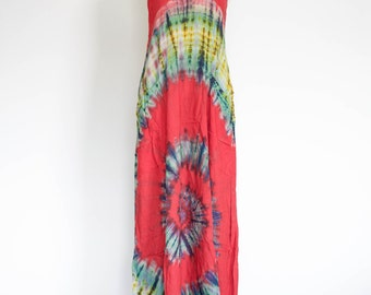 Women's Tie Dye Dress Tie Dye Long Dress Hippie Dress Festival Fashion Boho Racerback Dress Bohemian Dress Gypsy Dress Colorful Hippy Style