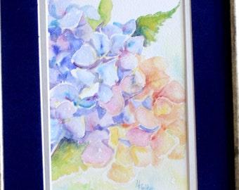 Hydrangea Painting - Original Watercolor - Flower Painting - Blue Floral - fine art flowers - wall art - original painting