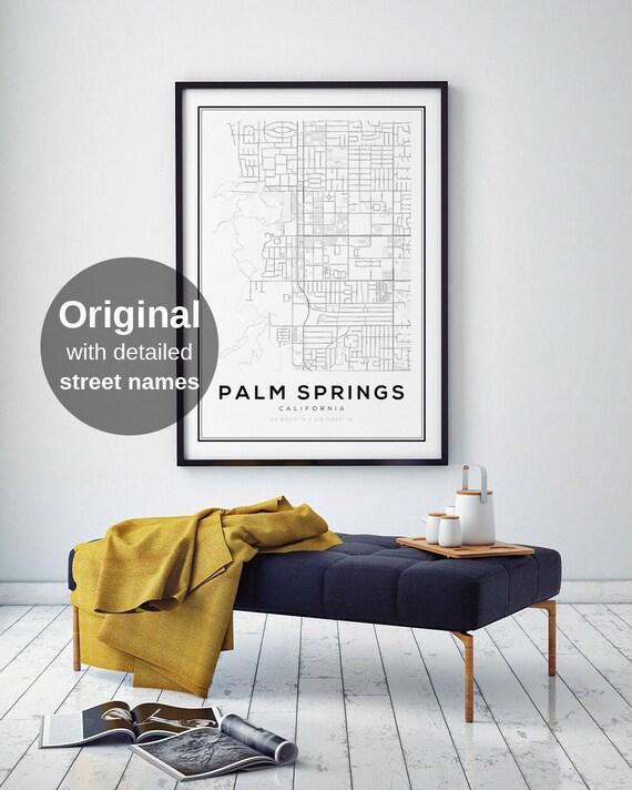 palm springs map print california map print us map print