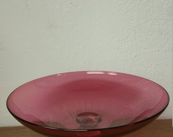 Pairpoint Hand Blown Cranberry Compote