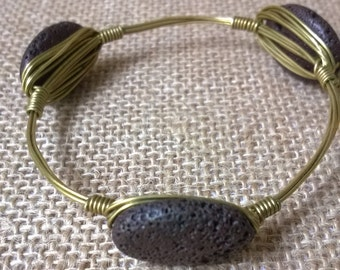 Lava Rock Bangle Bracelet, Wire Wrapped Bracelet, Bangle Bracelet, Gift for her