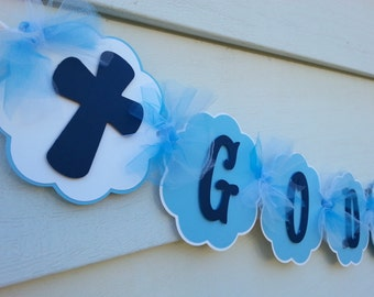 God Bless Banner, Baptism banner, Confirmation Banner, First Communion Banner...This Listing Is Only For A God Bless Banner