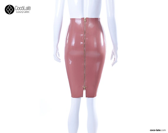 Latex Pencil Skirt With Full Back Zip