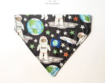 astronaut, man on the moon, space and rockets bandana for dogs and cats