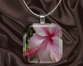 Pink Hibiscus Glass Tile Pendant with chain(CuFl25.6)