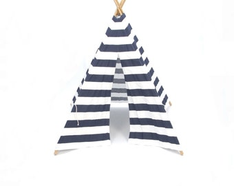 SALE!! Poles Included Teepee Play Tent Poles Included Navy and white wide stripe 4 Panel