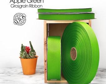 Apple Green Grosgrain Ribbon - 4 widths - Berwick Offray Apple Green grosgrain ribbon - USA made apple Green grosgrain ribbon -  (550)