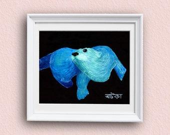Otter Art Print - Blue - Otter Art - Giclee Art Print