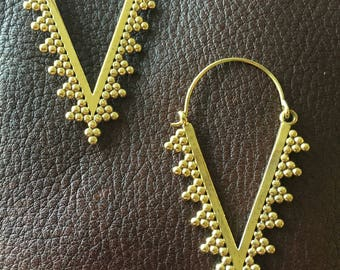 Indian Brass Pendant Earrings with V-Shaped Design