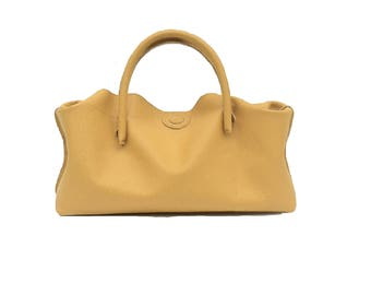 Small handbag handbag Leather yellow handmade