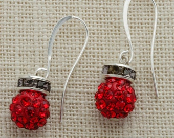 Red Rhinestone Silver Charcoal Earring French Hooks Handcrafted 6H