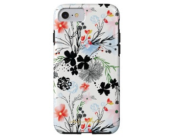 LONGWEEKEND BLUES dainty floral iPhone X, iPhone 8/8 Plus, iPhone 7/7 Plus, iPhone 6/6s, iPhone 6/6s Plus case, Samsung Galaxy S6