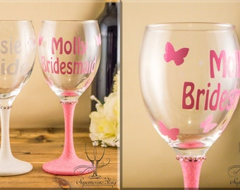 Glitter WINE Butterflies - personalised|glass|glasses|bride|bridesmaid|gift|name|gift|Mother of the Bride, Groom|custom|Bridal|Bridesmaids