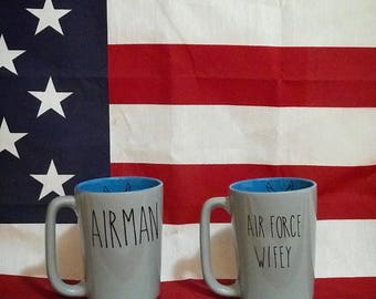 Rae Dunn Inspired Military Spouse Mug Air Force, Army, Navy, National Guard, Coast Guard, Marines, Milso, Wifey, Airman