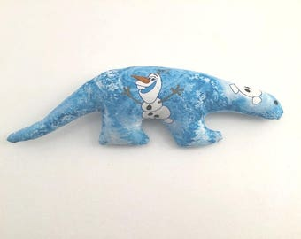 Dinosaur Toy, Disney Frozen Fabric, Olaf Stuffed Toy, Blue Dinosaur, Toy Dinosaur, Baby Gift, Shower Gift