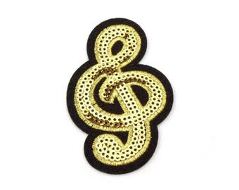 2 Iron on Patch Treble Clef with Sequins