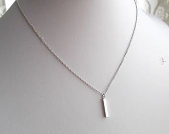 Thin Dainty Bar Necklace Silver/Gold - Minimalist Short Layering Necklace - Simple Everyday Tiny Pendant Necklace - Minimal Jewellery Gift