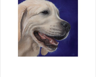 "Open edition print, ""Love of a White Golden"" signed"