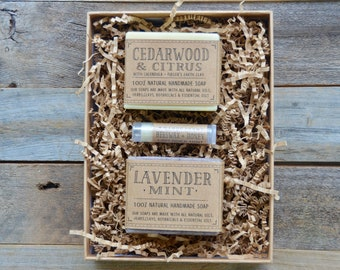 Handmade Soap Set, Soap Gift Set, Natural Gift Set, Soap and Lip Balm Gift Set, Handmade Natural Soap, Natural Lip Balm, Artisan Soap