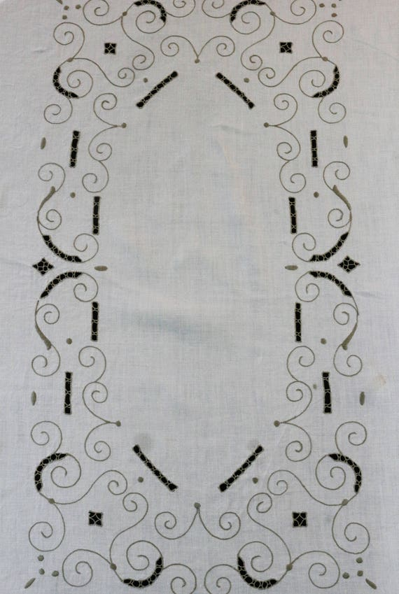 Embroidered Linen Tablecloth, Ivory & Taupe Scroll Motif Reticella Inserts, 76 x 61, French Country Cottage, Vintage Italian Table Linens