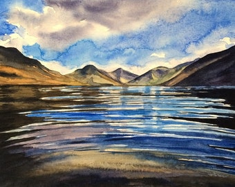 Wast Water, Lake District, landscape painting, English landscape, Cumbria, mountain lake painting, English countryside, lake reflection