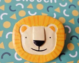 Handmade Lion Brooch