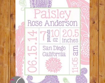 Paisley Birth Announcement Wall Art Pink Lilac Stats Flower Art Personalized Baby Nursery DIY Printable Wall Art 8x10 Digital JPG (149)
