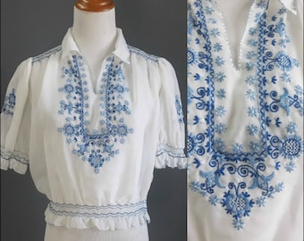 vintage hungarian blouse, sheer hungarian embroidered blouse, blue embroidery, kalocsa blouse, medium size, vintage ethnic blouse