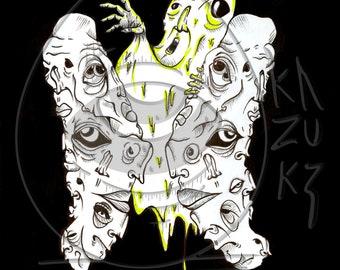 Print from a original freehand drawing poster interior decoration Matte Gloss street art Metamorphosis  Kazuki