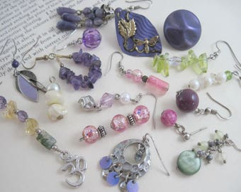 Single Earrings Lot, Single Earrings, Earrings Lot, Jewelry Lot, Craft Lot Earrings, Repurpose Lot, Purple Earrings