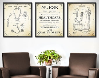 NURSE Graduation Gift - SET of 3 - NURSE Gift - Doctors Office Decor - Gift For Medical Student Gift - Nurse Gifts Decor Wall Art - 1875