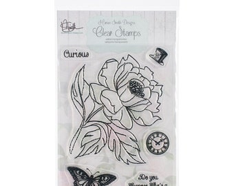 Marion Smith Designs Curious Cling Stamp Set w/Large Flower, Top Hat, Clock+ New