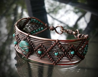 Wire woven bracelet with turquoise beads