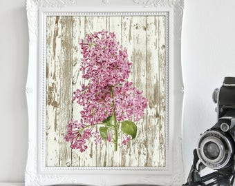 Lilacs Artwork, Lilac Print, Lilacs Art, Shabby Chic, Printable Art, Floral, Print, Wall Decor, Gift for Her, Floral Art Print, Download