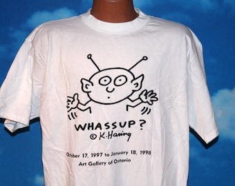Keith Haring Whassup? Art Gallery of Ontario XL White Tshirt Vintage 1997
