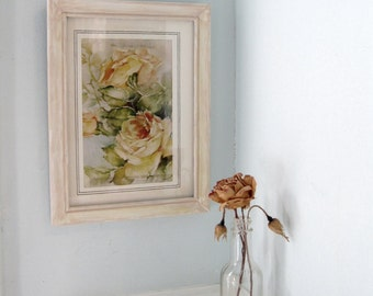 Roses Print Framed Wall Hanging, Shabby Chic Wood Frame, Pastel Roses, Pastel Home, Shabby French Vintage, by mailordervintage