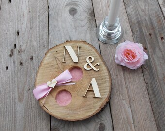 Wooden ring bearer pillow - rings, wedding, wedding decoration, wedding accessoires, couple