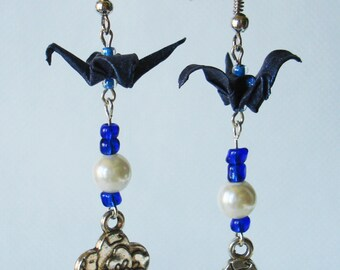 Handmade Origami Earrings with Cranes of Happiness Metallic Paper Dark Blue Pearl Flower Glitter
