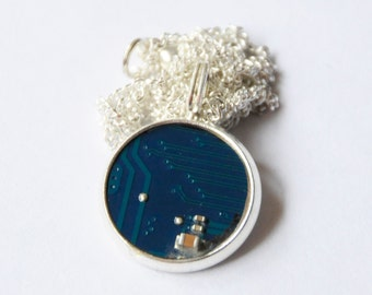 Recycled Blue Circuit Board Necklace Pendant