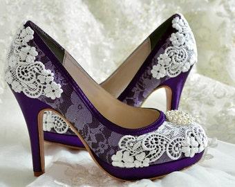 Wedding Shoes - Custom Colors 250 Choices - PBT-0382 Vintage Bridal Shoes-  Lace , Pearl Brooch, Women's Bridal Shoes