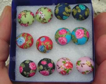 FLORAL fabric handmade round stud earrings: 1 pair choice between 3 pairs.