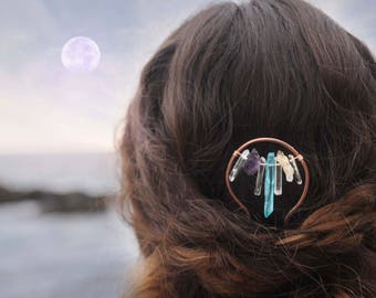 Crystal Hair Stick, Quartz Hair Fork, Boho Hair Pin, Hair Claw, Hair Comb, Braid Jewelry, Hair Slide, Hair Clamp, Hair Clip, Hair Barrette