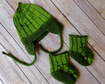 Baby Hat and Booties Set, Green Baby Hat, Baby Earflap Hat, Baby Booties