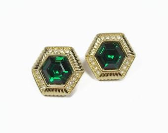 Vintage Swarovski Green Rhinestone Earrings, Clip On, Signed Swarovski Crystal Earrings, 1980s Jewelry, Hexagon Earrings