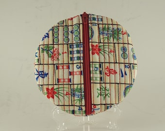 Mah Jong  Embroidered Zippered  round lined bag coin purse
