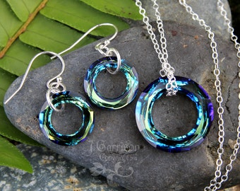 Cosmic Ring Earrings and Necklace Set - brilliant faceted blue green  crystal rings on sterling silver - free shipping USA