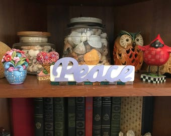 Peace Wooden Sign with Glass Tiles on Bottom