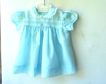 Sweet vintage 50s,  pastel blue viscous, baby girl's  puffy dress with a lace , pin tack, bow. 24 month.