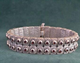 Byzantine Bracelet, Etruscan Bracelet, Solid Sterling Silver and Garnet Bracelet, Women's Silver Bracelet, Gift For Her