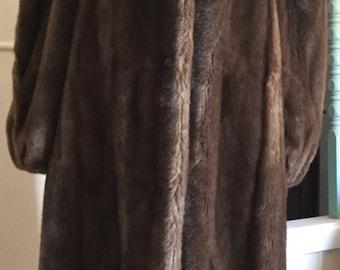 70s Lilli Ann faux fur suede full length M